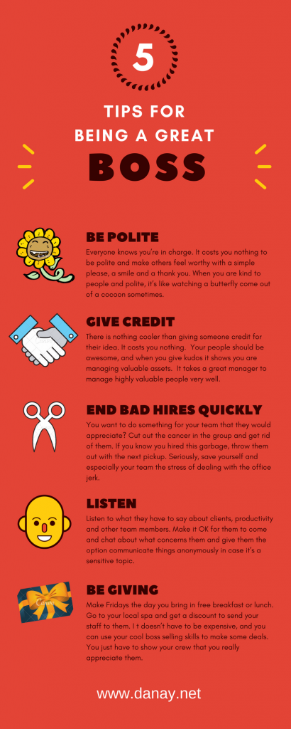 5 Tips for being a great boss Infographic