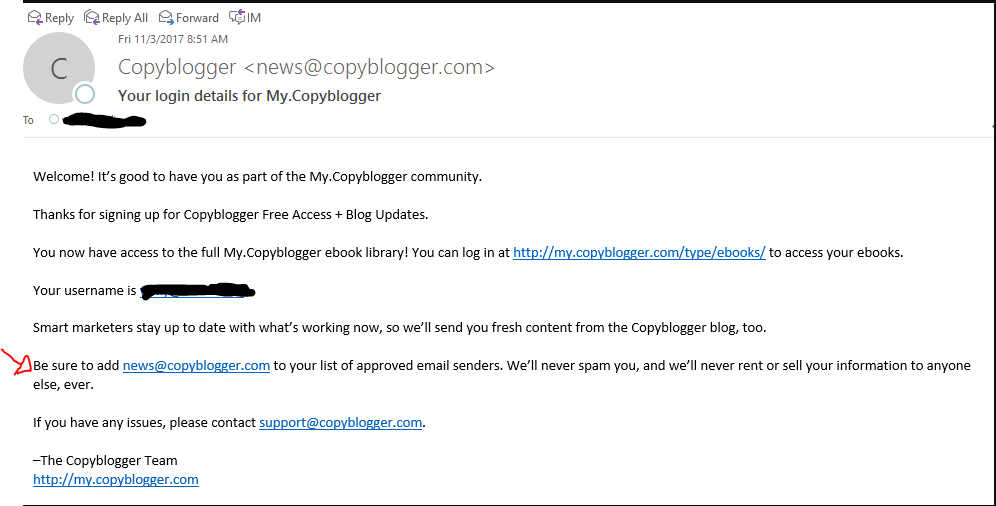 CopyBlogger Welcome Email