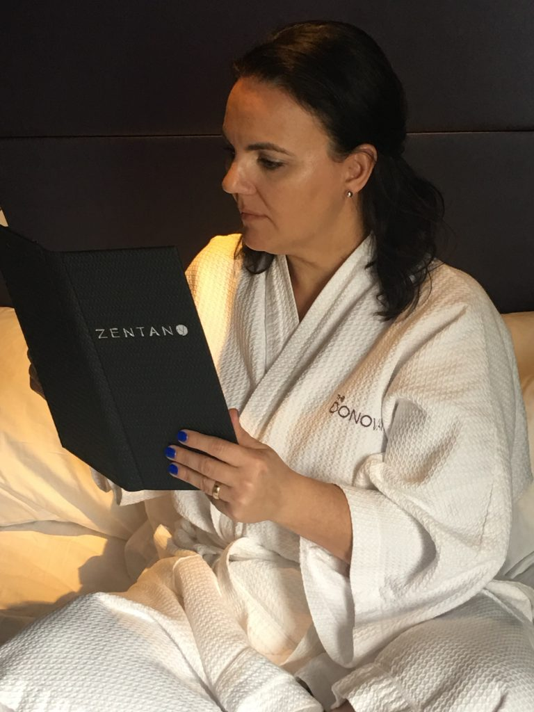Danay ordering room service from Zentan at Kimpton Donovan Hotel